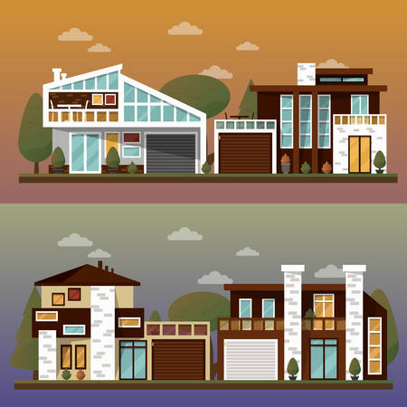 family in front of house: Vector flat illustration of two family house and sweet home banners outdoor street, private pavement, backyard with garage. Office architecture with beautiful plants and bushes. Private house banner