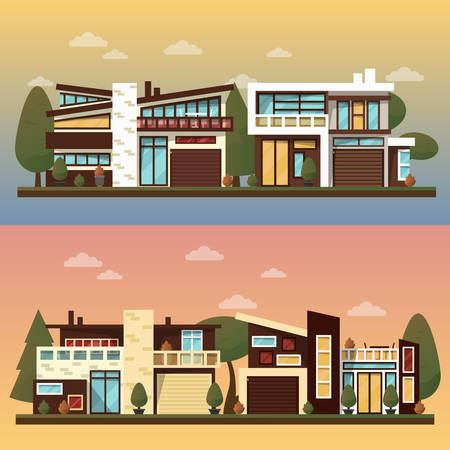 facade: Vector flat illustration of two family house and sweet home banners outdoor street, private pavement, backyard with garage. Office architecture with beautiful plants and bushes. Private house banner
