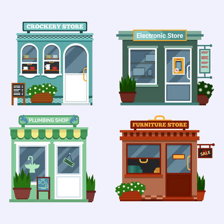 show case: Vector flat illustration of buildings that are shops that are selling electronics notebook, tablet, smartphone and has a discount, crockery with cups, plumbing with water-tap and a blob furniture