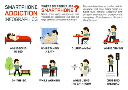 Vector flat illustration of smartphone addiction. Danger of using it when going to bed, having a meal, driving, working, walking, taking a bath, crossing a road. Bad lifestyle infographic concept. Illustration