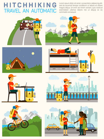 trekker: Vector flat illustration infographic of hitchhiking tourism road travel.