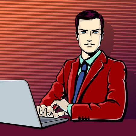 retro computer: Vector illustration of successful businessman with computer in pop art comics retro style