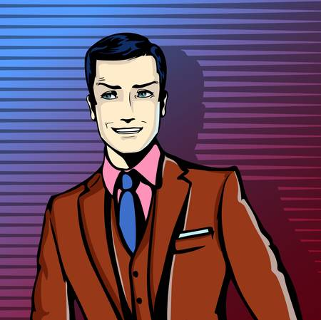 smirking: Vector illustration of successful businessman smiling, smirking in pop art comics retro style Illustration