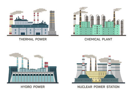 cartoon atom: Set of vector industrial flat illustration of different types of power plants.