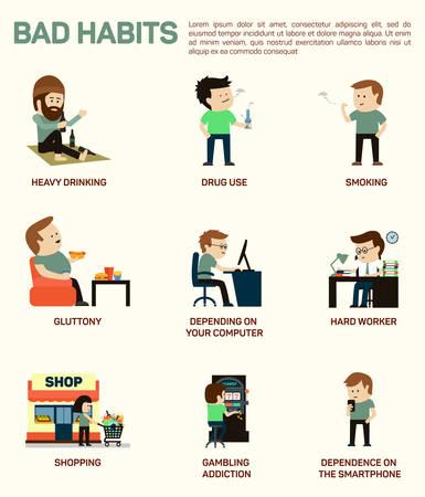 obesidad: Vector ilustración infografía plana de los malos hábitos populares.