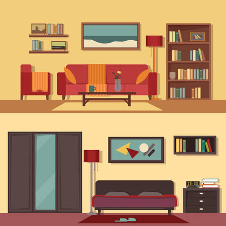 armchair: Vector flat illustration banners set abstract isolated for rooms of apartment, house. Illustration