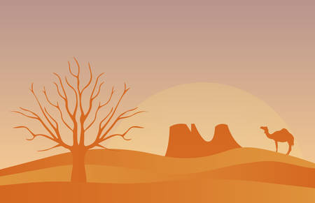dunes: Horizontal banner with lonely desert isolated vector illustration. Scenic view of desert with nature trees, sky, mountains and wild nature. Illustration