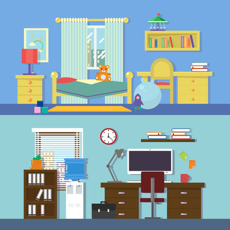 nursery room: Vector flat illustration for rooms of apartment, house. Nursery children room, work room. Modern decoration with paintings, books on the shelves. Lamp, teddy bear, window, clock, pillow, chair. Illustration
