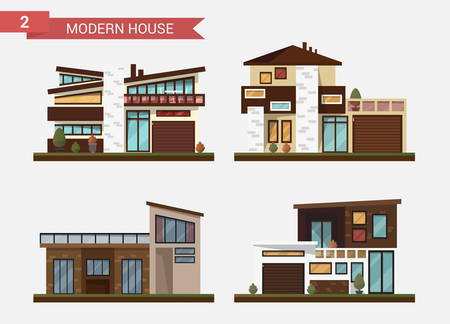homes exterior: Vector flat illustration traditional and modern house. Family home. Office building. Private pavement, backyard with garage. Office architecture with beautiful plants and bushes.