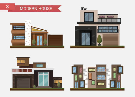 office building: Vector flat illustration traditional and modern house. Family home. Office building. Private pavement, backyard with garage. Office architecture with beautiful plants and bushes.