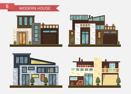 backyard: Vector flat illustration traditional and modern house. Family home. Office building. Private pavement, backyard with garage. Office architecture with beautiful plants and bushes.