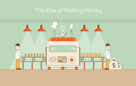 converting: Vector flat thin line illustration of conveyor with machine mechanism converting ideas into money. Highlighted with lamps and making vapor. Concept of cash, currency, adult income, financial earning