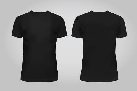 Vector illustration of design template black men T-shirt, front and back isolated on a light background. Contains gradient mesh elements. Ilustração