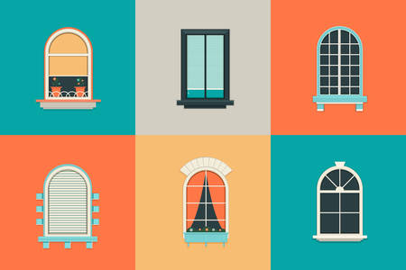 pane: Vector flat set of icons for windows with pane. Rectangle and oval shape glass. Balcony with curtains, vase, shutter. New clean plastic arch. Illustration
