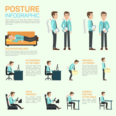body posture: elements of improving your posture. Infographic