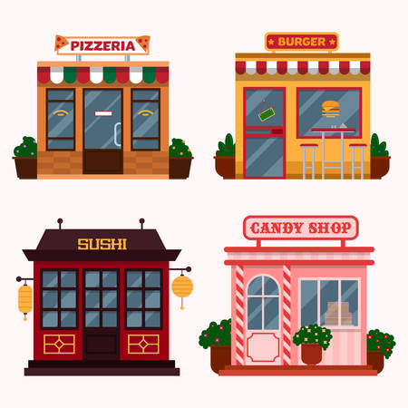 illustration of  buildings that are restaurants, cafe, fast food. Italian pizzeria, american burger shop, Japanese sushi, candy shop.