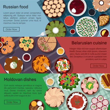 borscht: flat illustration of russian, belarusian, moldovan molnational dishes. Borscht, okroshka, rye bread, blini and lemon, meat and potato, bay leaf Illustration