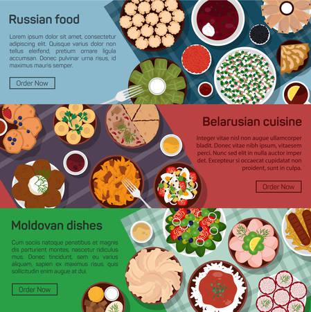 moldovan: flat illustration of russian, belarusian, moldovan molnational dishes. Borscht, okroshka, rye bread, blini and lemon, meat and potato, bay leaf Illustration