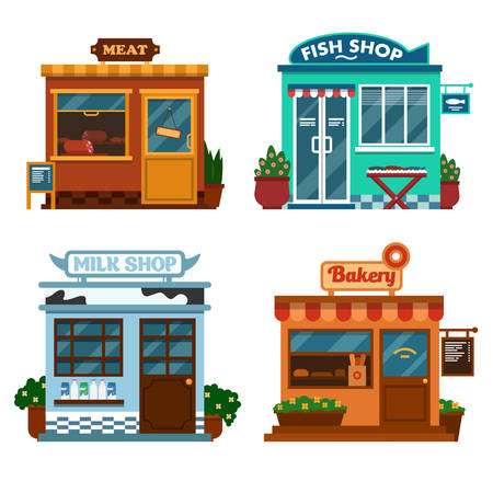 illustration of  buildings that are shops for buying food. Milk meat, fish and bakery shops with flower and bushes