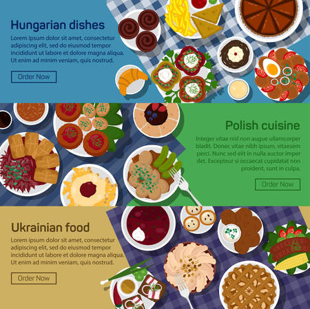 borscht: flat illustration of ukrainian, hungarian, polish national dishes. Gulasch, flaki, bagel and kielbasa, bigos and eggs, bread and sausage, borscht.