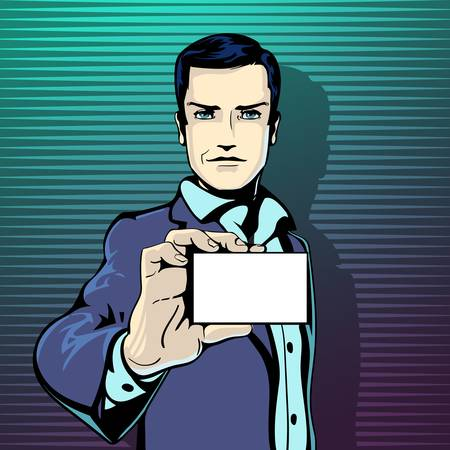 feel good: illustration of successful businessman shows visit card in vintage pop art comics style. Likes and positive feel. Gesture good, agree and smile.