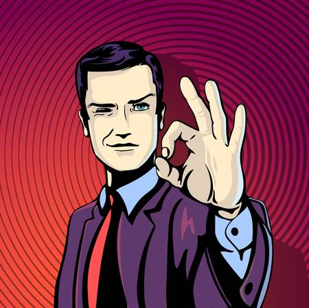 business deal: illustration of successful businessman gives ok in vintage pop art comics style. Likes and positive feel. Gesture good, agree and smile. Illustration