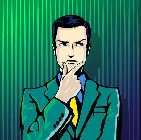 feel good: illustration of successful businessman thinks in vintage pop art comics style. Likes and positive feel. Gesture good, agree and smile.