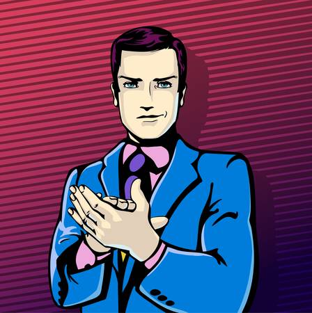 illustration of successful businessman applause in vintage pop art comics style. Likes and positive feel. Gesture good, agree and smile. Çizim