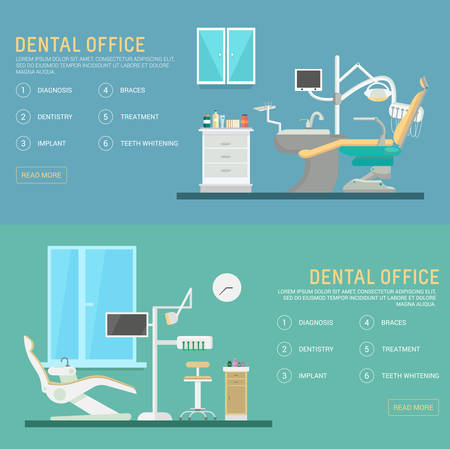 medical equipment: flat banners dental office with seat and equipment tools. Medical arm-chair illustration. Colorful template for you design, web and mobile applications.
