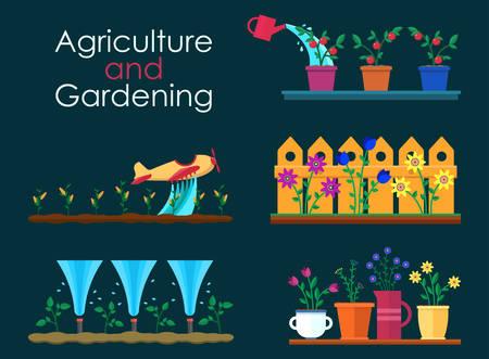 tillage: banderas planas del vector para trabajos de jardinería y proyectos de jardinería. Los rociadores de riego automático. La agricultura y la jardinería. Hola primavera y el verano.