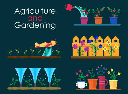 tillage: Vector flat banners for garden work and gardening projects. Automatic Sprinklers Watering. Agriculture and gardening. Hello spring and summer.