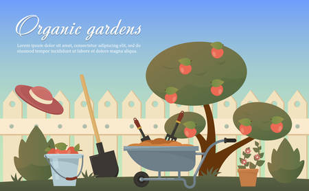 agricultural tools: Vector flat illustration of garden agricultural accessories, tools, instruments. Equipment for soil work. Trowel, shovel, bush, tree with apples, spade and bucket, wooden fence, hat.
