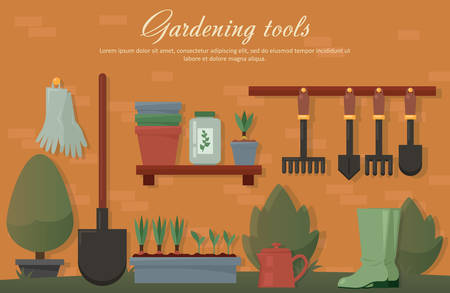 Vector flat illustration of garden agricultural accessories, tools, instruments. Equipment for soil work. Trowel, shovel, radish, bush, tree, spade and rubber gloves, pot with plants and seeds.