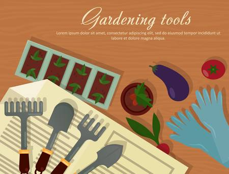 rubber gloves: Vector flat illustration of garden agricultural accessories, tools, instruments. Equipment for farmyard. Trowel, shovel and radish, eggplant, tomato and carrot, rubber gloves, pot with plants.