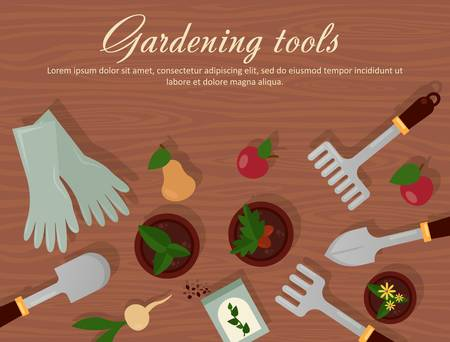 rubber gloves: Vector flat illustration of garden agricultural accessories, tools, instruments. Equipment for farmyard. Trowel, shovel, radish, apple, pear and carrot, rubber gloves, pot with plants and flowers. Illustration