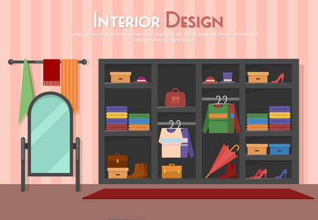 towel: Vector flat illustration of room, with wardrobe, mirror with towels, shelf on the floor, parket with carpet rug. Shoes on heels, boots, packs, bag, umbrella, cloth and shirt,  in home, apartment,