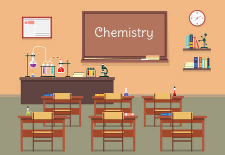 institute: Vector flat illustration of chemistry lassroom at the school, university, institute, college. Desks with books rulers, flasks, bottles, beaker, microscope and blackboard, chalk and bookshelf, clock.