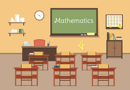 institute: Vector flat illustration of mathematic classroom at the school, university, institute, college. Desks with books rulers, prism, pyramid, table, barrel. Lesson for diploma, teaching and learning.
