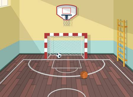 institute: Vector flat illustration of sport room in institute, college, university, school. Basketball, football and soccer balls. with ladder for health care. Gate with net. Window with sunshine beams. Illustration