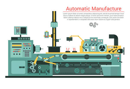 manufacturing equipment: Vector flat illustration of complex engineering machine with pump, pipe, cable, cog wheel, transformation, rotating details. Industrial mechanical revolution of manufacturing equipment.