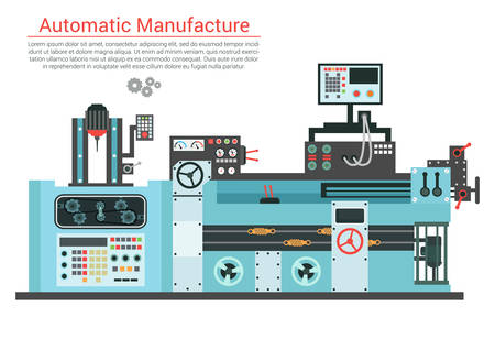 Vector flat illustration of complex engineering machine with pump, pipe, cable, cog wheel, transformation, rotating details. Industrial mechanical revolution of manufacturing equipment. Banco de Imagens - 57471208