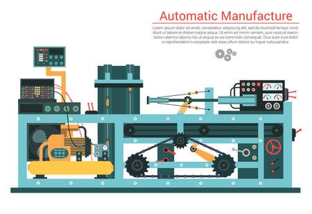 Vector flat illustration of complex engineering machine with pump, pipe, cable, cog wheel, transformation, rotating details. Industrial mechanical revolution of manufacturing equipment.