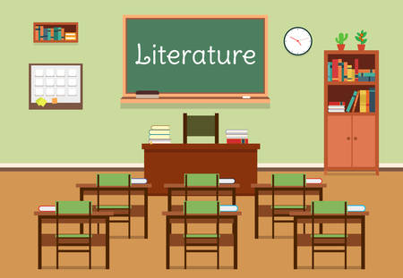 Vector flat illustration of literature classroom at the school, university, institute, college. Lesson for diploma, teaching and learning. School classroom with chalkboard and desks. Çizim