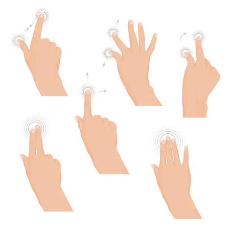 nudge: Set of hands with multitouch gestures for tablet or smartphone. Commonly used multitouch gestures for tablets and smartphone. Instruction. Set of rules Vector illustration. Illustration