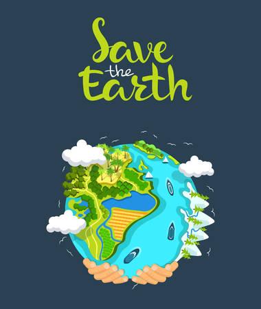 Dag concept van de Aarde. Menselijke handen met zwevende wereldbol in de ruimte. Red onze planeet. Platte stijl vector geïsoleerde illustratie. Vector Illustratie
