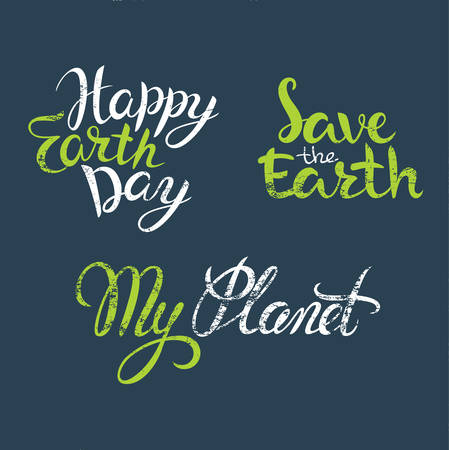 earth day: Happy Earth Day hand lettering, poster for Earth Day. Earth Day vector illustration. Vector Earth Day concept. Hand lettering Happy Earth Day. Earth Day background. Illustration