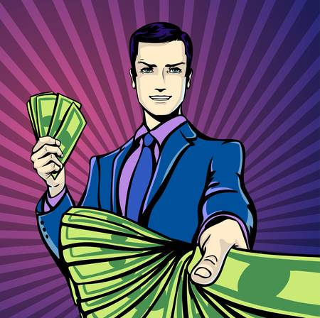 counting money: Vector illustration of successful businessman smiling counting money dollars, smirking in pop art comics retro style or cartoon style casting shadow, Halftone. Conception of charm.