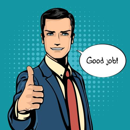 feel good: Vector illustration of successful businessman gives thumb up in vintage pop art comics retro style. Likes and positive feel. Gesture good and excellent, agree and smile.