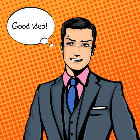 smirk: Vector illustration of successful businessman smiling, smirking in pop art comics retro style or cartoon style casting shadow, Halftone. Conception of charm, charisma, captivation.