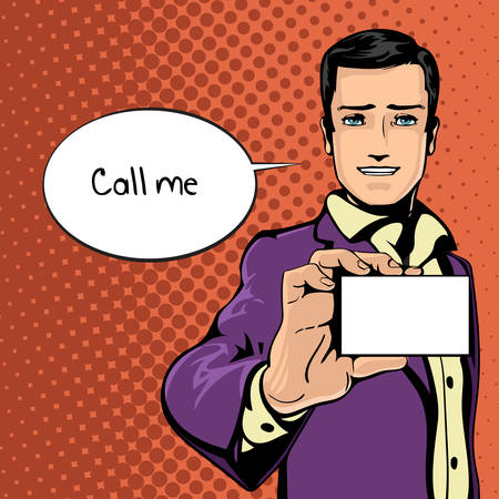 feel good: Vector illustration of successful businessman shows visit card in vintage pop art comics style. Likes and positive feel. Gesture good, agree and smile. Illustration